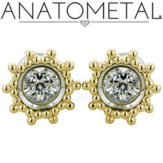 00ga Floating Stone Eyelets in ASTM F-138 stainless steel with solid 18k yellow gold Sabrina Overlays: CZ gemstones