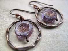 Purple earrings, Flower earring, Flower Jewelry, Picasso Flower, 12mm Czech Flower, Copper Finding, Boho Chic Jewelry, Niobium earwire by BatsToBeads on Etsy