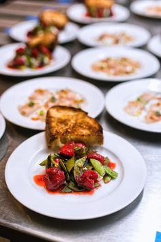 Strawberry sambal, snap peas, ricotta, and housemade toast. A preview of Gerard Craft's Sardella.