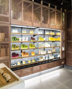 We will of course have an open drinks fridge, and i love how the light shines through to really hero the bottles of juice and their vibrant colours Food Retail, Retail Shop, Deco Restaurant, Restaurant Design, Retail Interior, Cafe Interior, Cafe Design, Store Design, Juice Bar Design