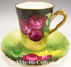 Limoges France Hand Painted Roses Cup Saucer