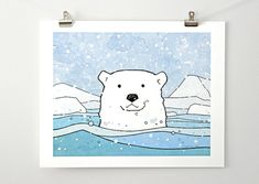 A Polar Bear in an icy Arctic Sea. Surrounded by icebergs and falling snow! Fun, bright hues of teal and blue. Print from an ink and watercolor