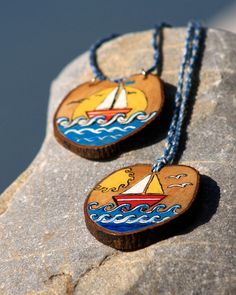 Sailboat necklace Hand painted necklace Hand painted