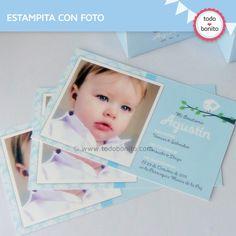 Kit de Bautismo pajarito bebé celeste para imprimir