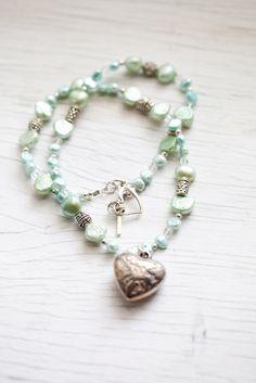 Mint green & light blue Freshwater Pearl Necklace . Heart Pendant . Bridal . Wedding .