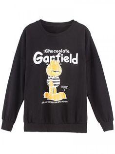 Black Garfield Print Sweatshirt | Persun