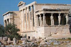 Erechtheion temple, acropolis hill, athens, greece