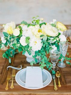 Could not be more romantic: http://www.stylemepretty.com/2015/07/17/whimsical-yellow-hued-wedding-inspiration/ | Photography: Sally Pinera - http://sallypinera.com/