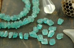 Rough Seas Apatite Rough Nugget Beads / 10 by WomanShopsWorld, $13.00