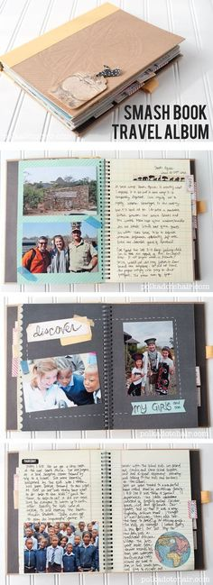 for using a Smash book to keep a travel journal and scrapbook of your vacation. Lots of fun page ideas!Ideas for using a Smash book to keep a travel journal and scrapbook of your vacation. Lots of fun page ideas!