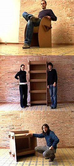 Muebles de cartón resistentes y económicos.