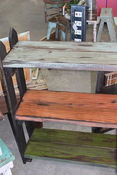 Made from some old wood slats with fence pickets for the legs. Sooo cute!