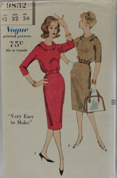 Vogue 9832 Misses 50er Jahre Kleid Nähen von PatternDepot auf Etsy