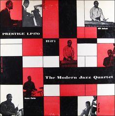 """Modern Jazz Quartet Label: Prestige 170 10"""" LP 1954 Design: Don Schlitten"""