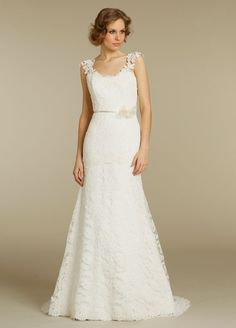 BRIDAL GOWNS, WEDDING DRESSES  SPRING 2012 COLLECTION     Scoop neckline fit n flare Alencon lace bridal gown with tip of the shoulder Alencon lace shoulder straps and low V back.  Available in White, Ivory, Ivory/Champagne.