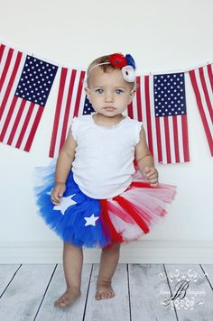 Red White Blue Tutu Girls Stars and Stripes Patriotic Welcome Home Tutu. $38.00, via Etsy.