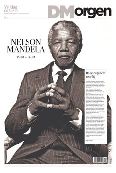 Cover of De Morgen, published in Brussels, Belgium on Dec 6th, 2013 has Mandela