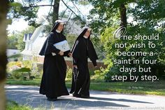 """""""One should not wish to become a saint in four days but step by step."""" ~Saint Philip Neri Sisters, Slaves of the Immaculate Heart of Mary pray the Divine Mercy Chaplet at the end of a school day. Saint Benedict Center, Still River MA. www.saintbenedict.com facebook.com/SistersMICM"""