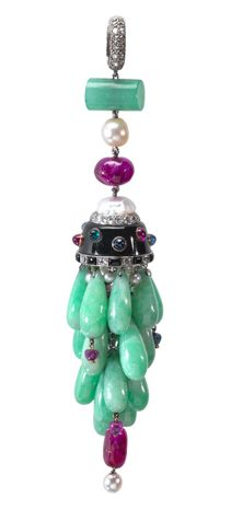 Louis Cartier  (French , 1875 - 1942) Made by Maison Cartier   (French, Paris, founded 1847) Pendant 1921 jade, onyx, rubies, emeralds, sapphires, pearls, diamonds, silver