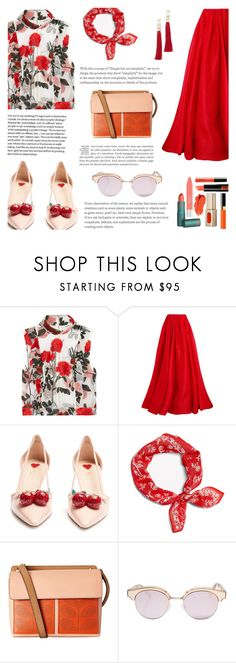 """""""Welcome Spring: Fresh with Red"""" by saviraauliap ❤ liked on Polyvore featuring Ganni, Reem Acra, Gucci, rag & bone, Orla Kiely, Le Specs and Rosantica"""