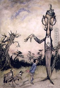 ✽    arthur rackham  -  'a giant with a child and two crows'  -   illustration from 'the book of betty barber'  -  by maggie brown -  pub1910  (also an illustration for the 'book of nonsense' by edward lear -  pub 1980)
