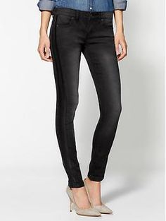 Free People Ankle Skinny Jeans With Vegan Leather   Piperlime