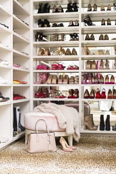 Fashion maven and blogger Rachel Parcell talks about a favorite piece in her walk in closet, a soft pink ottoman, that serves as a place for her to sit and put her shoes on.