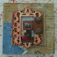 Collage art, mixed media art peice, old photos, vintage map collage, assemblage art, OOAK small art, USA artist, vintage hardware heart art by TheRustyWanderer on Etsy
