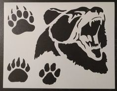 Grizzly Brown Bear Face Paw Print Paws Foot Custom Stencil FAST FREE SHIPPING