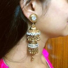 Kashmiri American Diamond Golden Big Jhumka / Jhumki Earrings ₹499.00 INR http://crazyberry.in/online-shopping/artificial-imitation-fashion-jewellery/kashmiri-american-diamond-golden-big-jhumka-jhumki-earrings