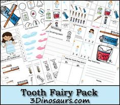 Free Tooth Fairy Pack - For ages 2 to 7 - over 60 pages - 3Dinosaurs.com