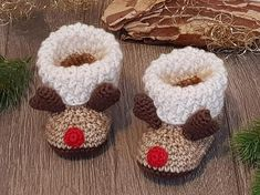 Pattern Baby, Baby Patterns, Crochet Patterns, Crochet Baby Shoes, Crochet Baby Booties, Crochet Chart, Crochet Hooks, Reindeer Antlers, Baby Boots