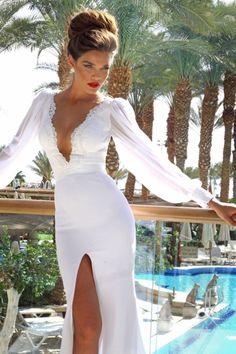 Gorgeous white dress + red lips