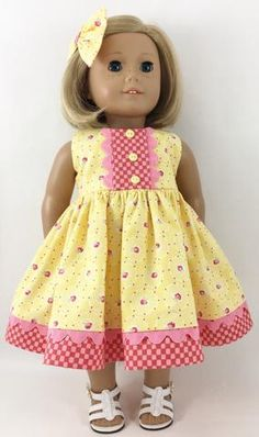 Fits 18 American Girl™ Dolls Yellow and Pink Rosebuds and Checks Sleeveless Dress Matching Hair Bow Fits 18 Sewing Doll Clothes, Girl Doll Clothes, Girl Dolls, Ag Dolls, Barbie Clothes, My American Girl Doll, American Doll Clothes, Doll Dress Patterns, Doll Furniture