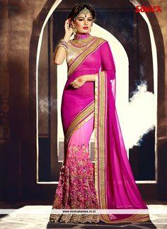 Celestial Hot Pink Shimmer Georgette Designer Saree