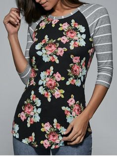 GET $50 NOW | Join RoseGal: Get YOUR $50 NOW!http://www.rosegal.com/t-shirts/raglan-sleeve-floral-and-striped-779898.html?seid=6654463rg779898