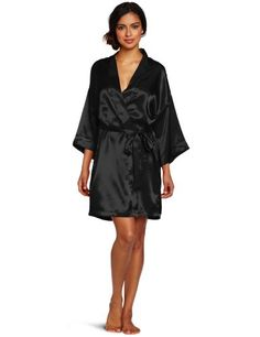 Intimo Women's Poly Charmeuse Robe, Black, Large
