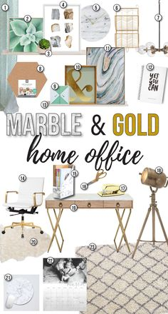 Marble And Gold Office Home Office Modern Office Design Marble And Gold Office Inspiration Office Design Board Office Inspo Home Office Design Ideas Mint Green Office Ideas Carrera Marble Ways To Incorporate Marble Into Design Diy Marb Office Office, Gold Office Decor, Green Office, Office Inspo, Office Ideas, Office Chairs, Office Themes, Bar Chairs, Mint Office