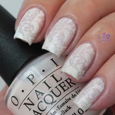 Stamped wedding themed nail art using OPI Act Your Beige!