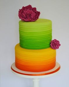 bright and colourful 2 tier cake