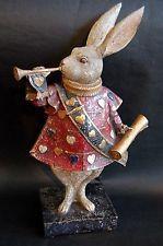 Alice in wonderland trumpet baroque rabbit home docor interior statue ornament