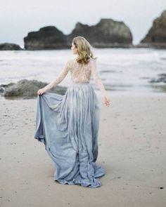 Something Chic: 24 Blue Wedding Dresses For Your Happy Wedding ❤ blue wedding dresses white lace top with sleeves beach emilyriggsofficial #weddingforward #wedding #bride #weddingoutfit #bridaloutfit #weddinggown