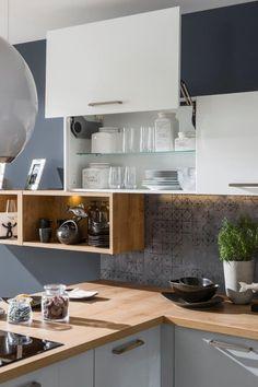 kuchyňa: Iris vyhotovenie: Biela Vysoký Lesk / Perla Šedá Vysoký Lesk / Dub Arlington Modern Kitchen Cabinets, Kitchen Design, Decoration, New Homes, Interior Design, House, Inspiration, Photography, Home Decor