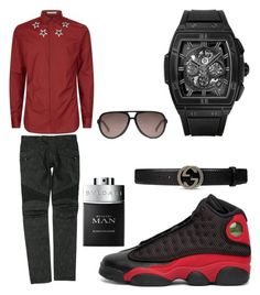 """Casual"" by pitbull8382 on Polyvore featuring NIKE, Givenchy, Balmain, Gucci, Hublot, Bulgari, men's fashion and menswear"
