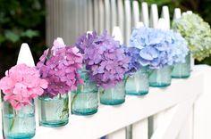 Hydrangea -one of my favorites! Love the blue mason jars. Hortensia Hydrangea, Hydrangea Colors, Hydrangeas, Hydrangea Macrophylla, My Flower, Beautiful Flowers, Flower Vases, Colorful Flowers, Purple Flowers