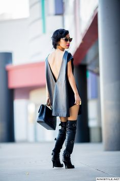 sexy black dress and knee high boots.  chic  OMG, I HAVE TO HAVE THIS, NOW!!!