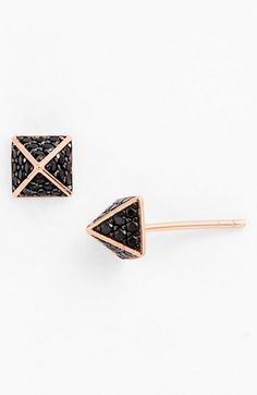 rose gold, black pave, pyramid studs