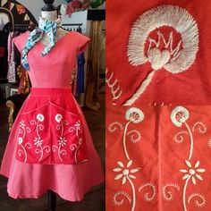 1950's pinny with gorgeous embroidered flowers, £17 inc p&p. 1242g.