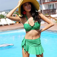 2013 New designer Fashion women bikini lady bikinis push up swimwear spa swimming skirt high waist swimsuit bathing suits dress $14.99
