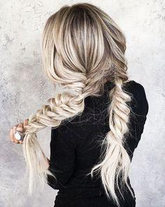 Fishtail Pigtail Braids | White Gray Hair | Sexy Blogger Hair | Braid Addict | Reverse Braid